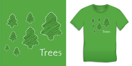 Trees chalk pattern, Christmas motif image, graphic design for t-shirts vector Stock Illustratie