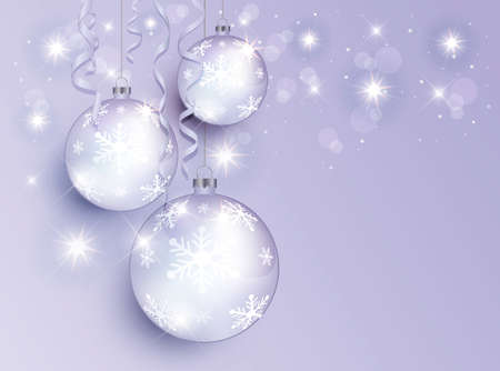 Christmas balls, greeting card template Merry Christmas vector Vektorové ilustrace