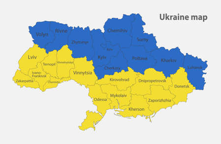 Map of the Ukraine in the colors of the flag with administrative divisions vector