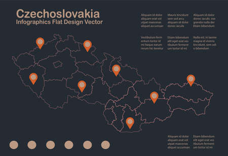 Infographics Czechoslovakia map outline, flat design, color blue orange vector