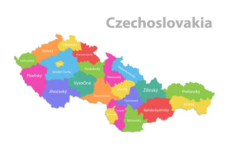 Czechoslovakia map, administrative division with names, colors map isolated on white background vector 向量圖像