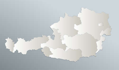 Austria map, administrative division with names, blue white card paper 3D blank