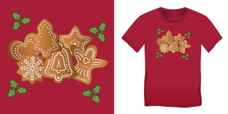 Gingerbread and holly leaves, graphic design for t-shirts, Christmas motif image, blank template