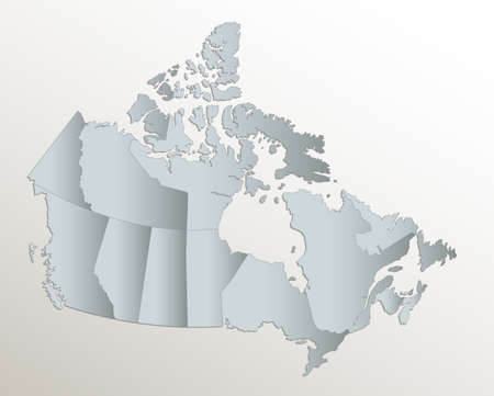 Canada map, administrative division, white blue card paper 3D blank