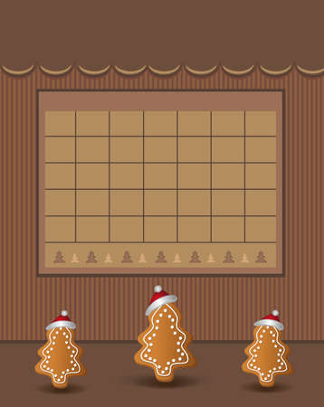 Calendar December Christmas for the year 2021, trees with gingerbread with a cap, chocolate color, blank template