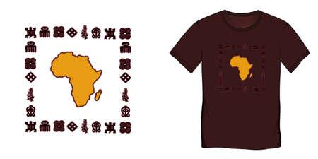 Print on t-shirt graphics design, Africa Map with Adinkra symbols, African hieroglyphs motive image, isolated on white background blank Stockfoto