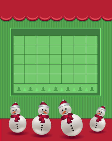 Calendar December Christmas for the year 2021, snowman with hat, red green color, blank template