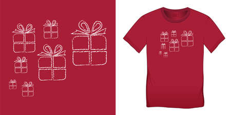 Gift chalk pattern, Christmas motif image, graphic design for t-shirts, blank template