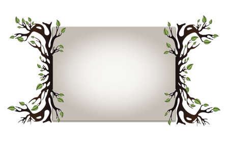 Paper board with frame with tree with leaves and roots, blank horizontal