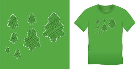 Trees chalk pattern, Christmas motif image, graphic design for t-shirts, blank template