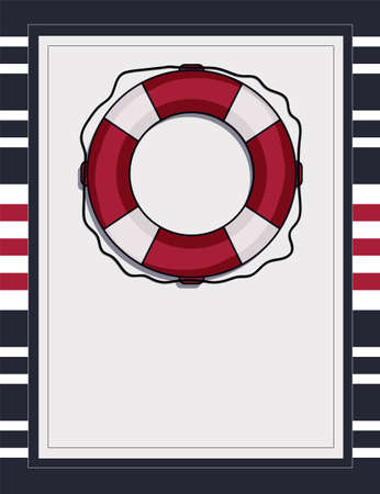 Nautical card template with lifebuoy blank