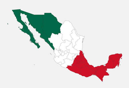 Map of the Mexico in the colors of the flag with administrative divisions blank