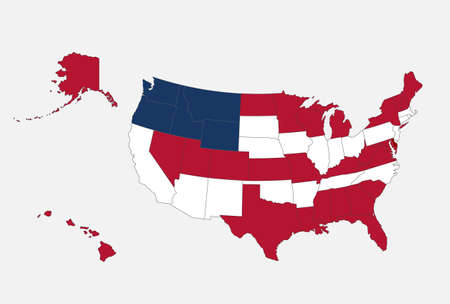 Map of the USA in the colors of the flag with administrative divisions blank