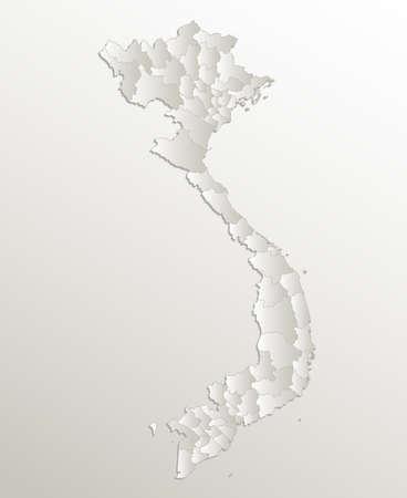 Vietnam map, administrative division, separates regions, card paper 3D natural blank