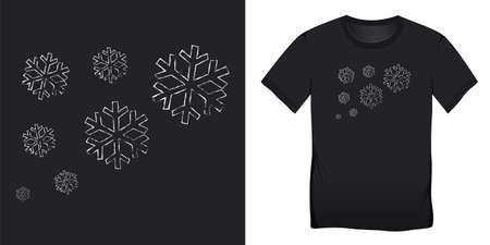 Snowflakes chalk pattern, Christmas motif image, graphic design for t-shirts blank template