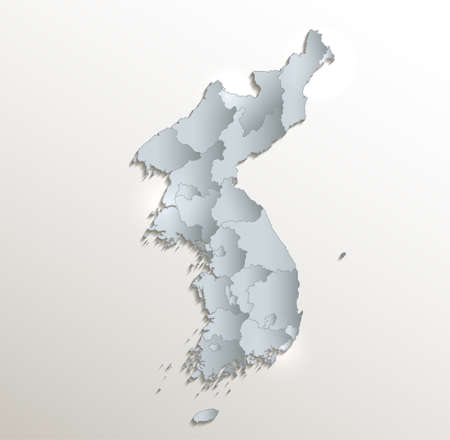 Korea map north and south, administrative division, white blue card paper 3D blank