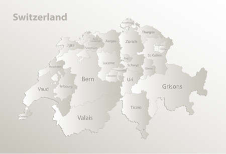Switzerland map administrative division separates regions and names, card paper 3D natural vector