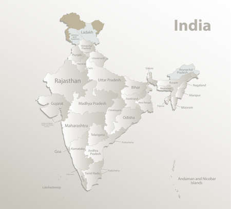 India map, administrative division, separate regions with names of individual regions, new map of division year 2020, card paper 3D natural vector