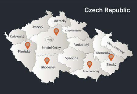 Czech Republic map, Infographics flat design colors snow white, with names of individual regions vector