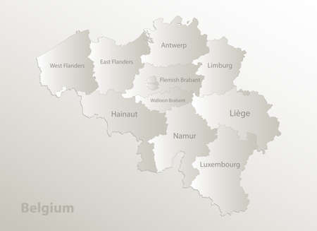 Belgium map, administrative division, separates regions and names individual region, card paper 3D natural vector