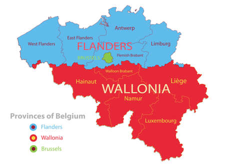 Belgium map, individual regions and provinces with names vector Stock Illustratie