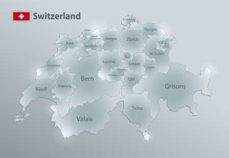Switzerland map and flag, administrative division, separates regions and names individual region, design glass card 3D vector