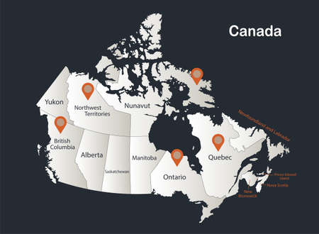 Canada map, Infographics flat design colors snow white, with names of individual regions vector