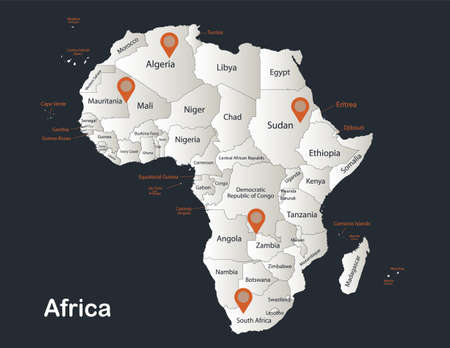 Africa map, Infographics flat design colors snow white, with names of individual states vector