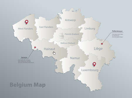 Belgium map, administrative division with names, blue white card paper 3D vector