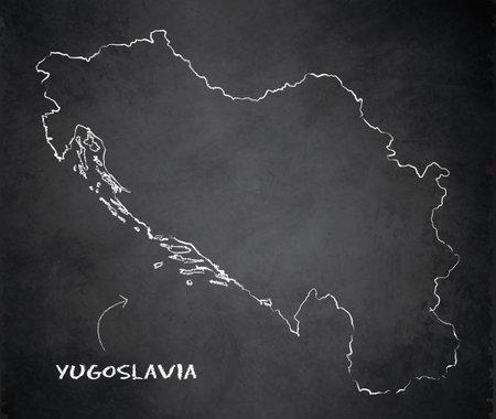 Yugoslavia map card blackboard chalkboard vector Stock Illustratie
