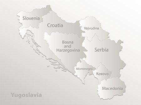 Yugoslavia map, administrative division, separates regions and names individual states, card paper 3D natural vector
