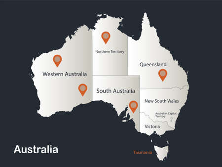Australia map, Infographics flat design colors snow white, with names of individual regions vector Stock Illustratie