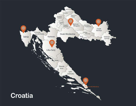 Croatia map, Infographics flat design colors snow white, with names of individual regions vector