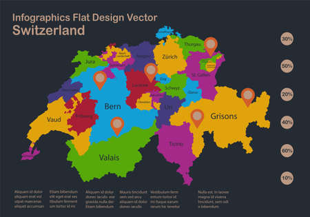 Infographics Switzerland map, flat design colors, with names of individual regions, blue background with orange points vector