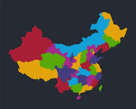 Infographics China map, flat design colors, blue background blank Stockfoto