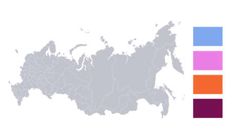 Infographics of Russia map, individual regions blank