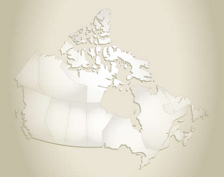 Canada map, administrative division, old paper background blank Stockfoto