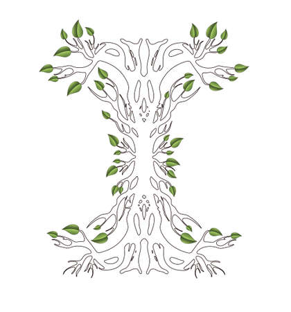 Tree silhouette with roots and leaves, abstract design, isolated object on white background blank