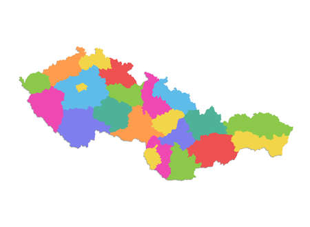 Czechoslovakia map, administrative division, colors map isolated on white background blank Stockfoto