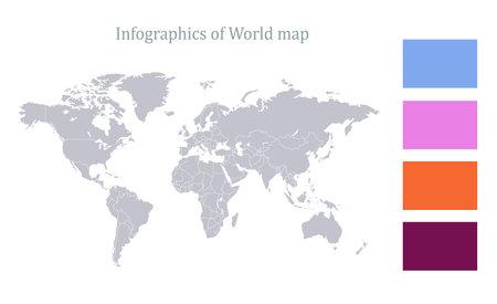 Infographics of world map, individual states blank Stockfoto
