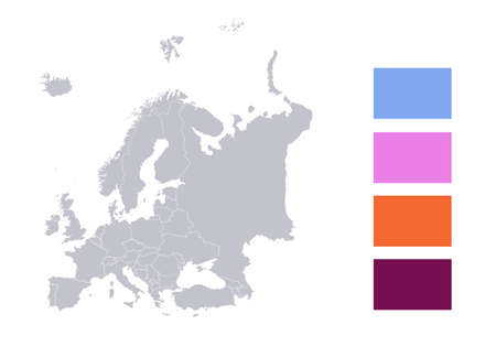 Infographics of Europe map, individual states blank
