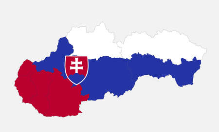 Map of the Slovak Republic map in the colors of the flag with administrative divisions blank