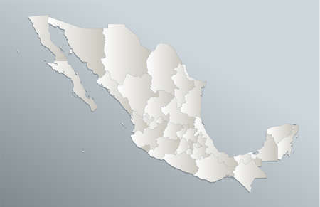 Mexico map, administrative division, blue white card paper 3D blank