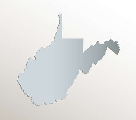 West Virginia map, white blue card paper 3D blank Stockfoto