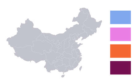 Infographics of China map, administrative divisions, blank Stockfoto