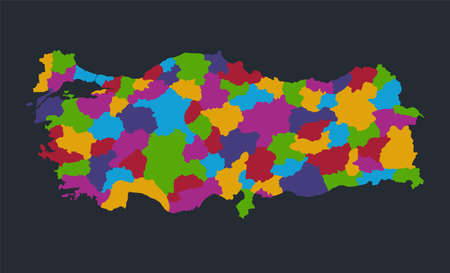 Infographics Turkey map, flat design colors, individual regions, blue background with orange points blank Stockfoto