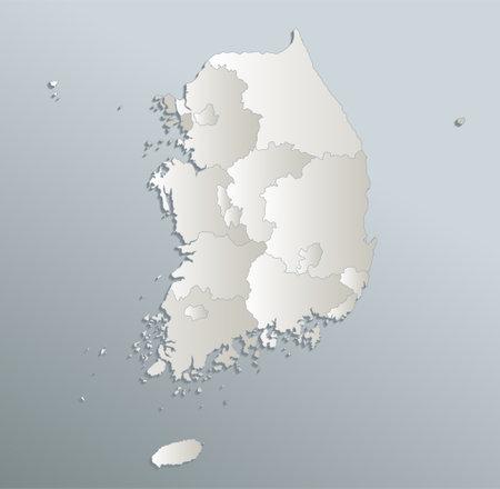 Sout Korea map, Republic of Korea, administrative division, blue white card paper 3D blank
