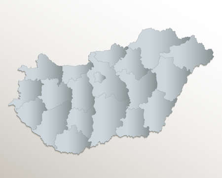 Hungary map, administrative division, white blue card paper 3D blank