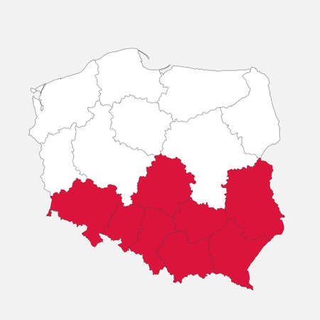 Map of the Poland in the colors of the flag with administrative divisions blank