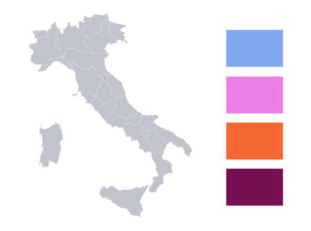Infographics of Italy map, individual states blank